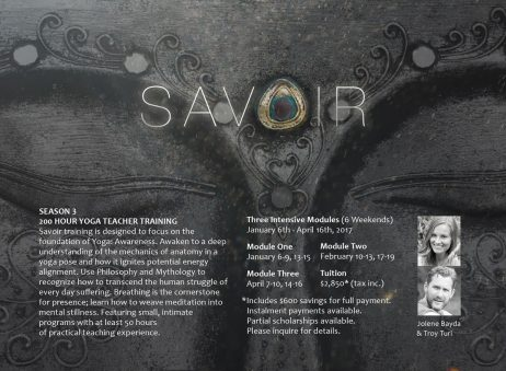 Savoir Yoga Teacher Training Flyer (back)
